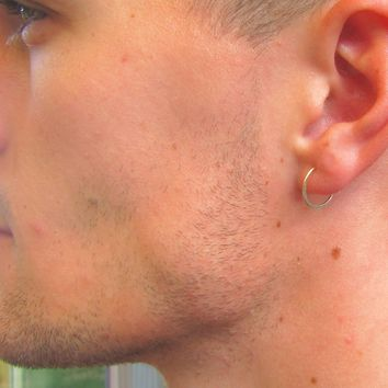Mens Piercing Earring Gold Face Hammered Single l Mystic Moon Shop