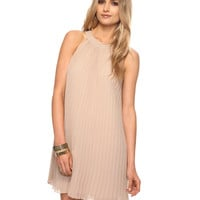 Accordion Pleats Mock Halter Dress