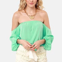Electric Slide Off-the-Shoulder Mint Top