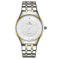 QIANBA  New Hot Luxury Brand Unisex lovers' Quartz Waterproof Wrist Watches Stainless Steel Gold Casual Fashion Relojes Watches