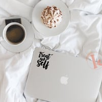 Treat Yo' Self Vinyl Decal Sticker - laptop stickers - treat yourself - car decal, laptop decal, car sticker, laptop sticker - treat yo self