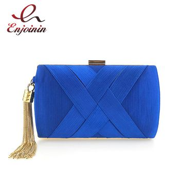 Elegant lady metal tassel cross striped satin fashion ladies party clutch bag evening bag chain purse handbag shoulder bag flap