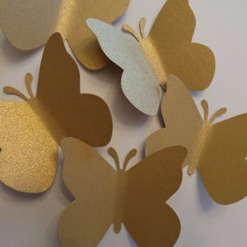 Gold  Butterfly, Large Gold Butterfly Die Cuts-Butterfly Punch, Paper Butterfly, Butterfly Decorations,Wedding Die Cuts-set of 50