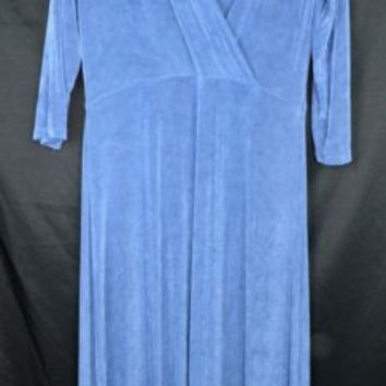 Coldwater Creek Size Small Blue Travelers Dress Slinky Fabric