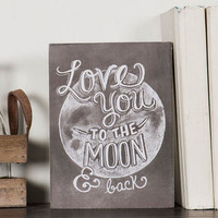 LOVE YOU TO THE MOON SMALL PLAQUE