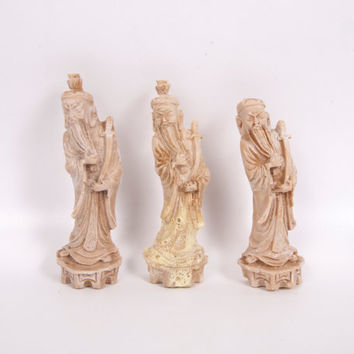 Vintage Oriental Wise Men Hand Carved Marble Sandstone Chinese Figurines Wall Hanging