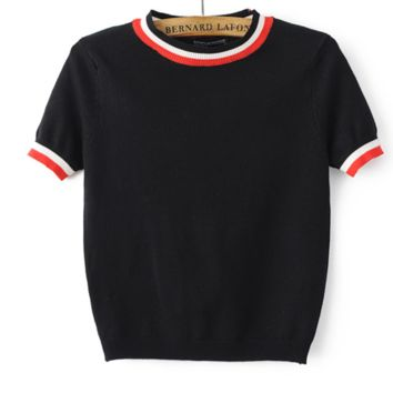 FREE SHIPPING Spring wear new slim and old - age collar color bar short - sleeved high - waisted crop sweater
