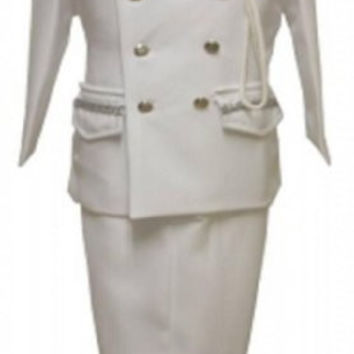 Baby Boy Christening Sailor Army Dress Outfit Sizes -S-m-l-xl /#2048 White-silver