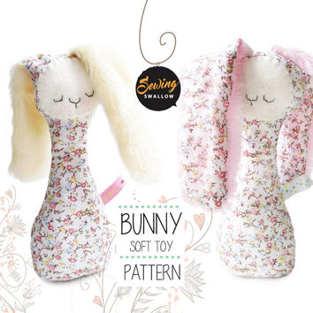 Easter BUNNY Sewing pattern, Girl Soft toy PDF tutorial, Rabbit DIY, Doll pattern