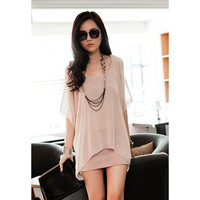 Pink Faux Short Sleeve Lace Chiffon Dress