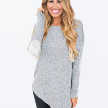 Asymmetrical Elbow Patch Tunic- Grey