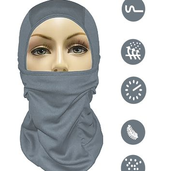 Balaclava Ski Mask Full Face Motorcycle Mask Neck Gaiter or Tactical Balaclava Hood. Best Cold Weather Running Gear for Men Women & Kids, grey