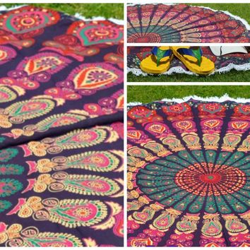 Jazmine Round Mandala Bohemian Yoga Table Beach Tapestry