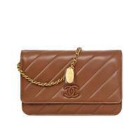 CHANEL '15 Brown Diagonal Stitched Lambskin Wallet On Chain WOC Bag GHW