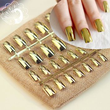 24pcs Sexy Metallic Nail Tips Acrylic Mirror Surface False Nails Long Size Gold Color in Simple Package