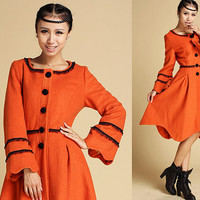 Warm winter wool coat with Scallop Edge and lace (337)