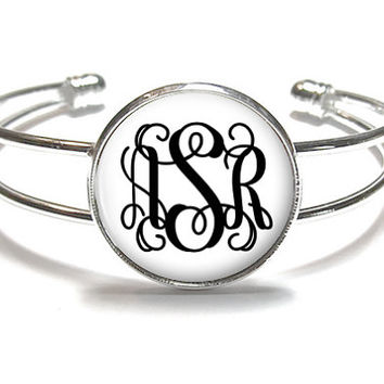 White Monogram Bracelet, Monogram Bangle, Monogram Jewelry, Bridesmaid Gift, Personalized Bracelet - Style 374