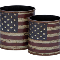 Canvas Trash Can Simple Versatile Design - Set of 2