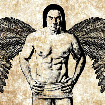Native American Indian Angel man art Image Download printable png clip art Digital stamp graphics drawing line art