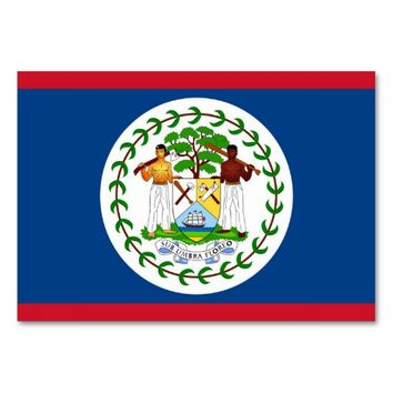 Patriotic table card with Flag of Belize