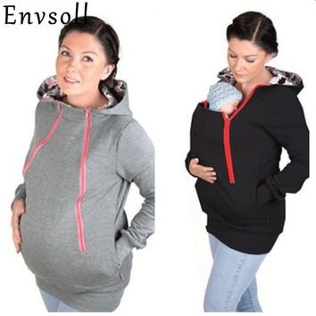 Envsoll Parenting Baby Carrier Hooded Sweatshirt Autumn Winter Mother Kangaroo Hoodie Women Pullovers Clothes For Pregnant Women