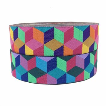 "ZERZEEMOOY 1"" 25MM 5YARD 2017 NEW Colour Mosaic Woven Jacquard Ribbon"