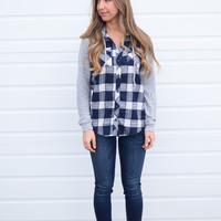 Here We Go Hooded Flannel - Navy