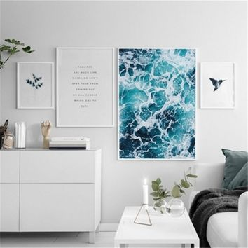 Nordic Modern SEA FOAM Canvas Art Print Wall Painting/Poster/Pictures for Bedroom Living Room Wall Art Home Decor Frame Not Incl