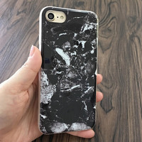 2017 Black Marble with White Phone Case For iPhone 7 7Plus 6 6s Plus 5 5s SE