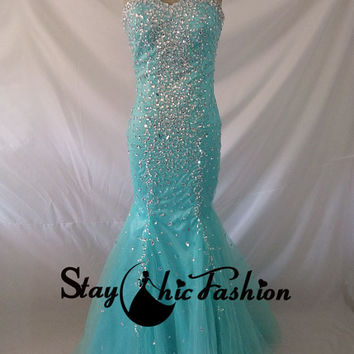 Dazzling Aqua Strapless Jewels Beading Lace Up Fitted Mermaid Prom Dress, Blue Long Beaded Evening Dress