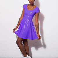 DEVOWEVO Purple Heart PVC Vinyl Skater Dress