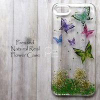 MHD Butterfly Pressed Real Flower Bling Clear Resin Hard Skin Case Cover For iPhone 4 4s 5 5c 5s 6 plus iPod touch 5 5G Nokia Lumia 630 635 925
