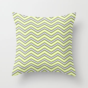 Grey and Yellow Chevron Patter Throw Pillow by T30 Gallery
