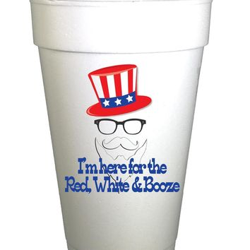 Red White & Booze 4th of July Holiday Styrofoam Cups