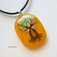 Spirit Tree Handmade Dichroic Fused Glass Pendant -Yellow