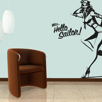 Wall Decal Vinyl Sticker Decals Art Decor Design Pin Up Girl Sailor Strip Erotic Gift Boys Mans Beauty Girls Fashion Bedroom (r609)