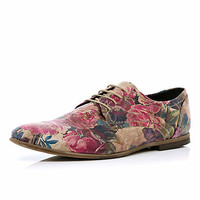 Brown floral print formal shoes - formal shoes - shoes / boots - men