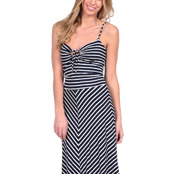 Veronica M Tie Front Dress - Black stripe