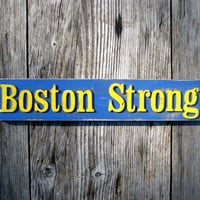Boston Strong - Boston Sign - Boston Marathon - Custom Sign - Blue and Yellow - Boston Massachusetts - Rustic Decor