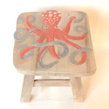 Octopus Hand Carved and Hand Painted Wood Footstool