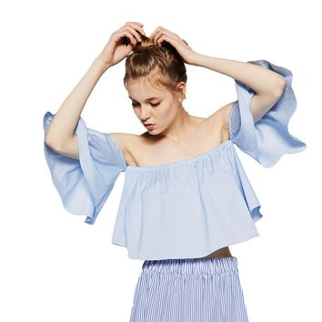 Women's Off Shoulder  Ruffles Blouse