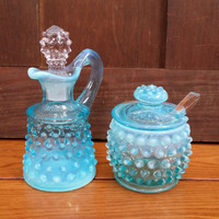 Vintage Fenton Opalescent Blue Hobnail Cruet and Honey Pot