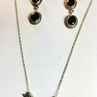 Paua Shell Sterling Silver Necklace and Long  Earrings  Cherokee Vintage