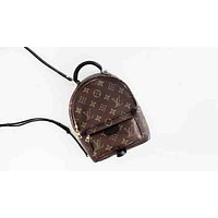 "LV ""Louis Vuitton"" Stylish Print Zipper School Bag Cowhide Leather Backpack I"