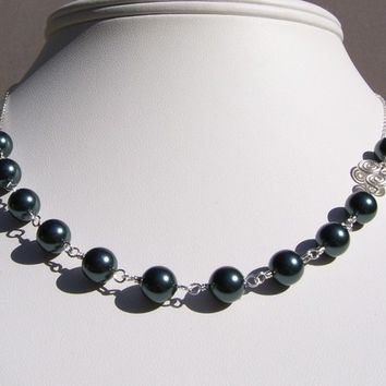 SALE Tahitian Swarovski Pearl Bridal Necklace with Sterling Silver Spiral Circles Link
