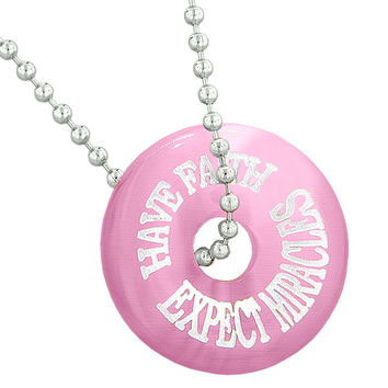 Inspiration Have Faith Expect Miracles Amulet Lucky Charm Donut Pink Simulated Cats Eye 18 Inch Necklace