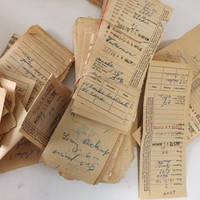 Vintage Railroad Papers, Over 1 Lb Union Dues Payment Receipts, Work Time Records, Steampunk Scrapbooking and Collage Craft Supply