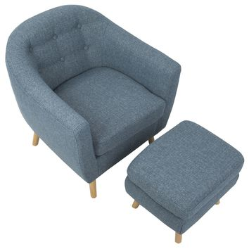 Rockwell Chair with Ottoman Blue