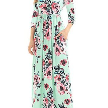 Chicloth Classic Floral Print Green 3/4 Sleeve Maxi Dress