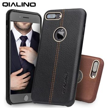 QIALINO Case for iPhone 7 Genuine Leather Back  Luxury Cover Case for Apple iPhone plus 7 Slim Fashion phone case 4.7/5.5 inch